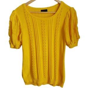 3/30$ VERO MODA Crochet Yellow Short Sleeves Top